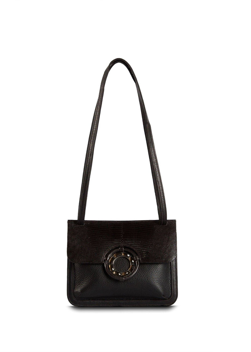 Exotic lizard & pebble leather saddle bag mini  in dark brown with smokey topaz grommet - Darby Scott