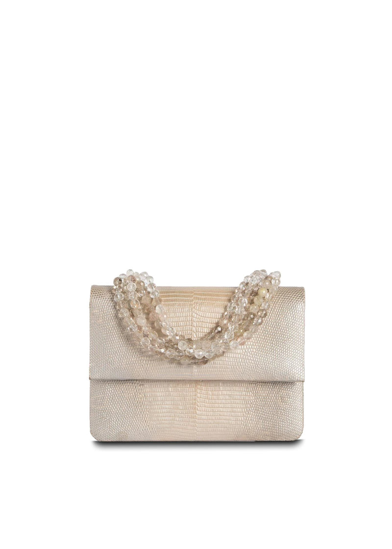 Exotic lizard mini iconic necklace handbag in champagne with rutilated quartz handle - Darby Scott