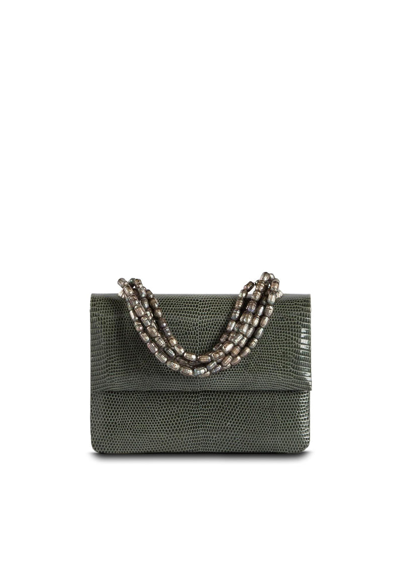 Exotic lizard mini iconic necklace handbag in grey with mother of pearl handle - Darby Scott