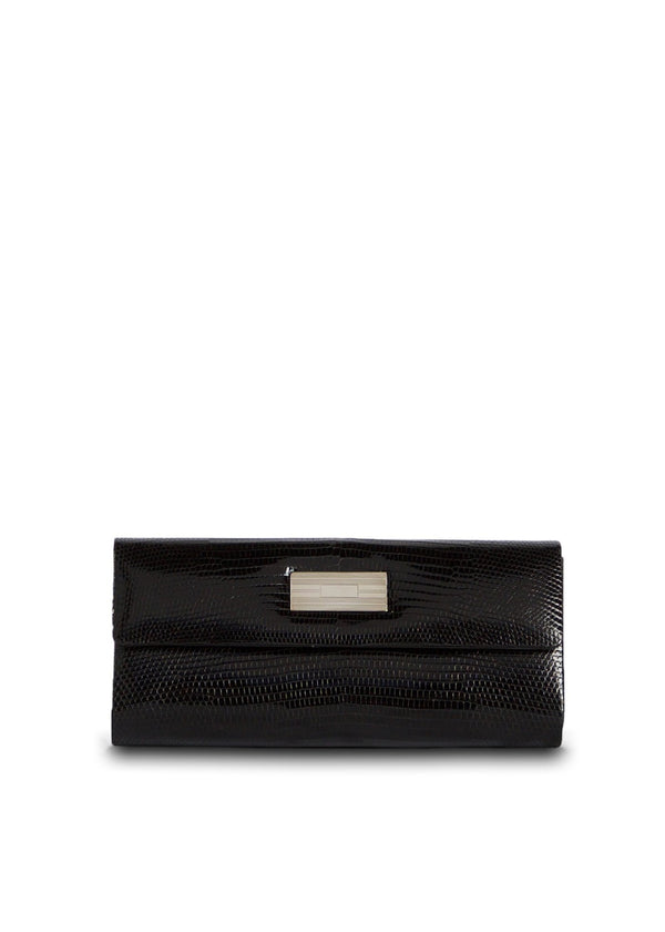 Exotic lizard roll clutch in black with sterling silver monogram plate - Darby Scott
