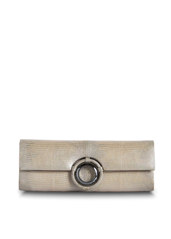 Exotic Lizard Roll Clutch in Champagne Metallic with Hematite Grommet - Darby Scott