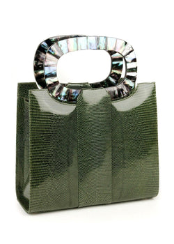 Exotic lizard Heritage top handle tote in olive with paua shell inlaid handle - Darby Scott