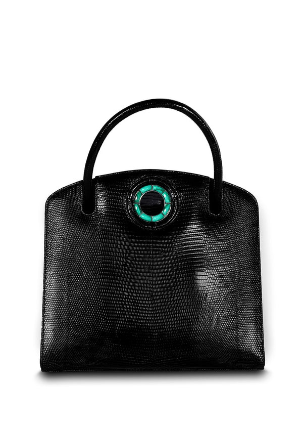 Exotic lizard Annette top handle tote in black with malachite grommet - Darby Scott