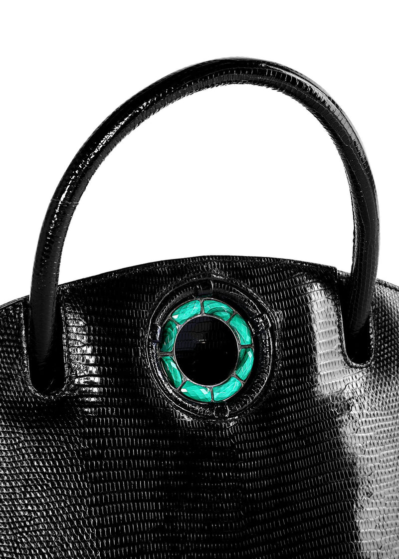 Exotic lizard Annette top handle tote in black with malachite grommet detail - Darby Scott