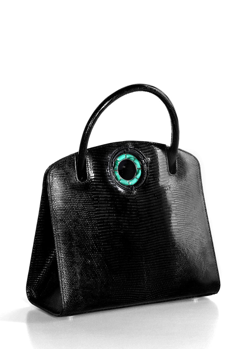 Exotic lizard Annette top handle tote in black with malachite grommet side- Darby Scott