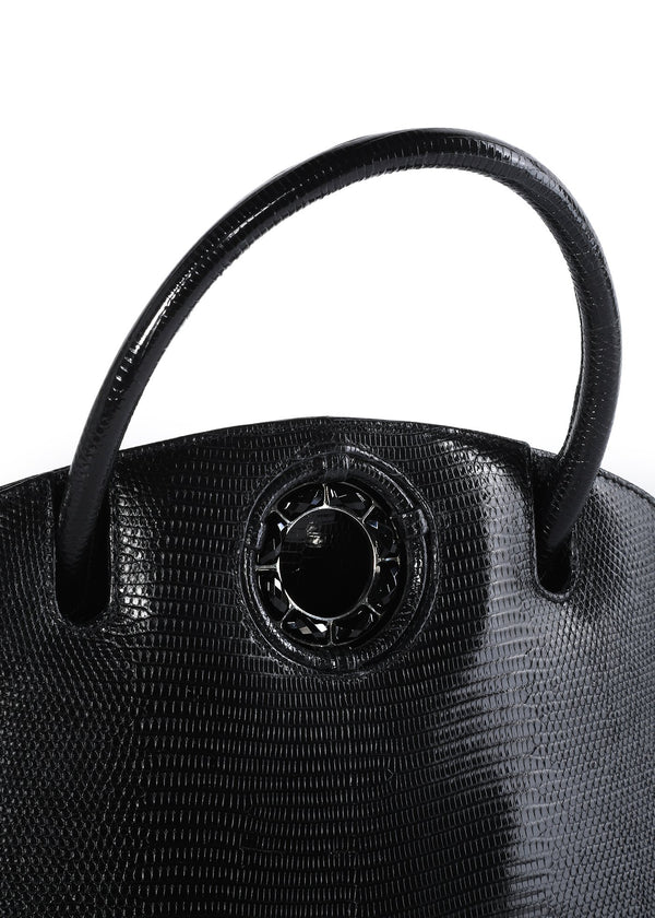 Exotic lizard Annette top handle tote in black with onyx grommet detail - Darby Scott--alternate