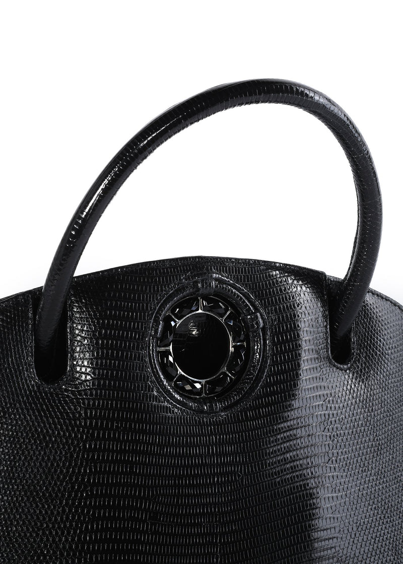 Exotic lizard Annette top handle tote in black with onyx grommet detail - Darby Scott