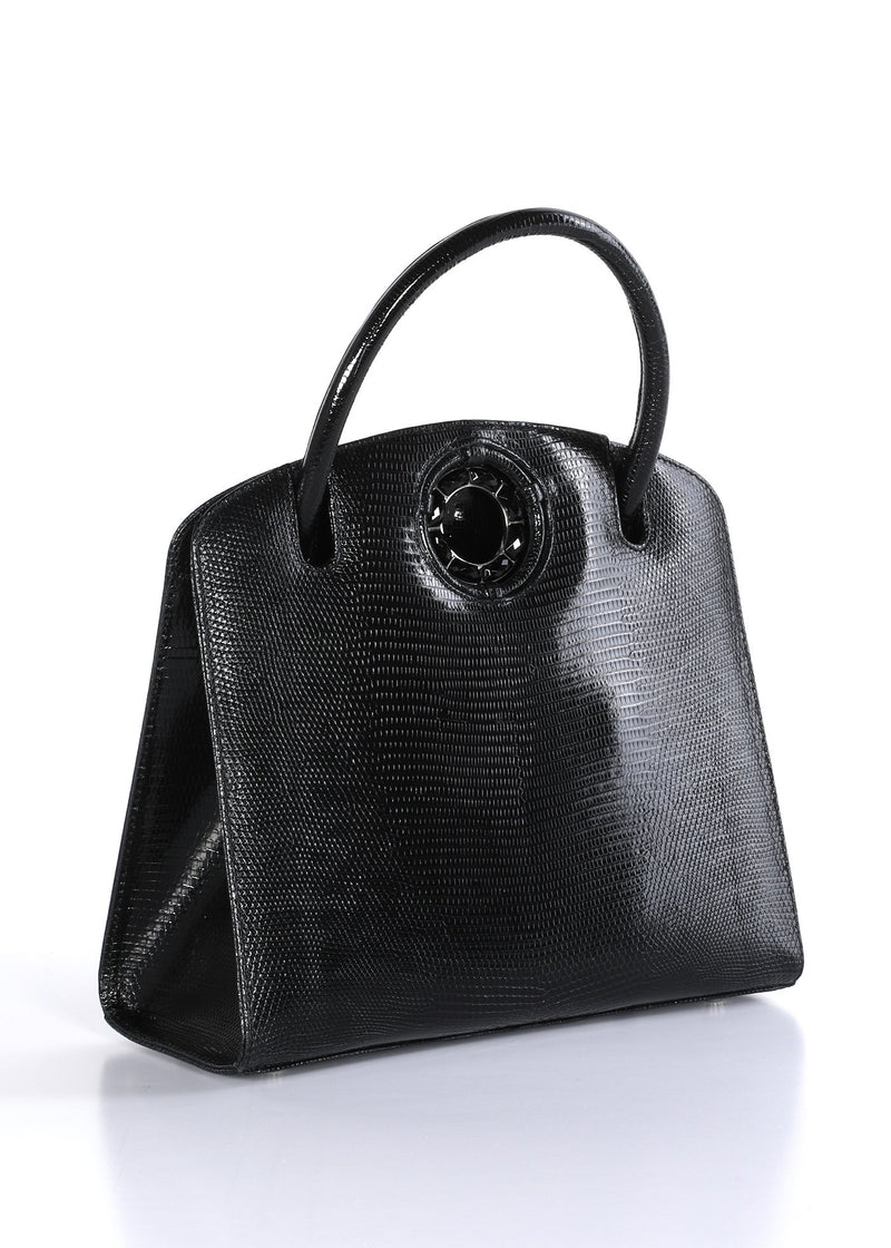 Exotic lizard Annette top handle tote in black with onyx grommet side- Darby Scott