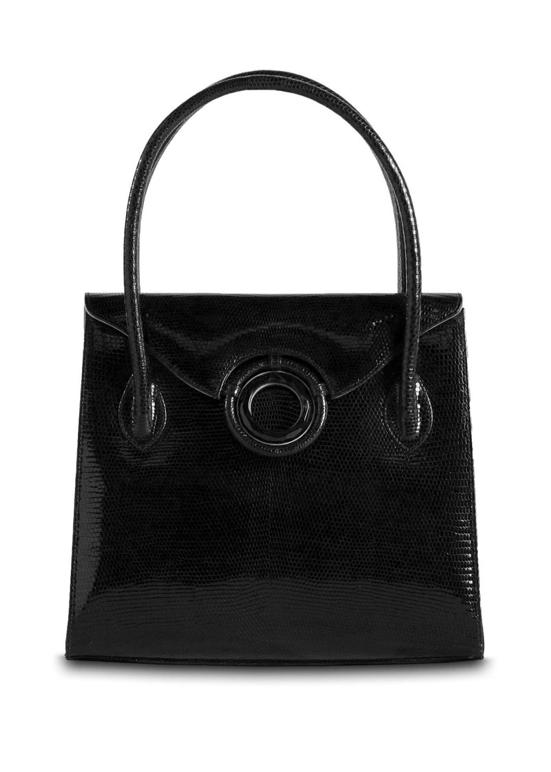 Exotic Lizard Thompson 'O' Tote in Black with Black Onyx Grommet - Darby Scott
