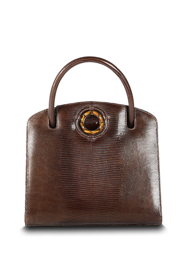 Exotic lizard Annette top handle tote in brown with tiger eye grommet - Darby Scot