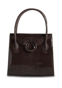 Exotic Lizard Thompson 'O' Tote in brown with smokey topaz grommet - Darby Scott