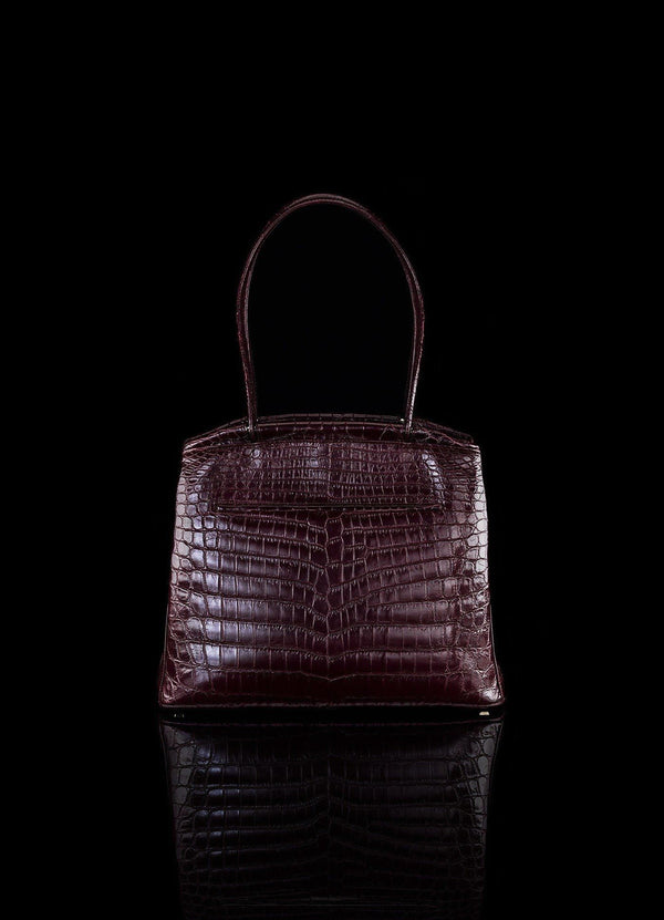 Exotic Niloticus Crocodile Satchel Bordeaux Crawford - Darby Scott