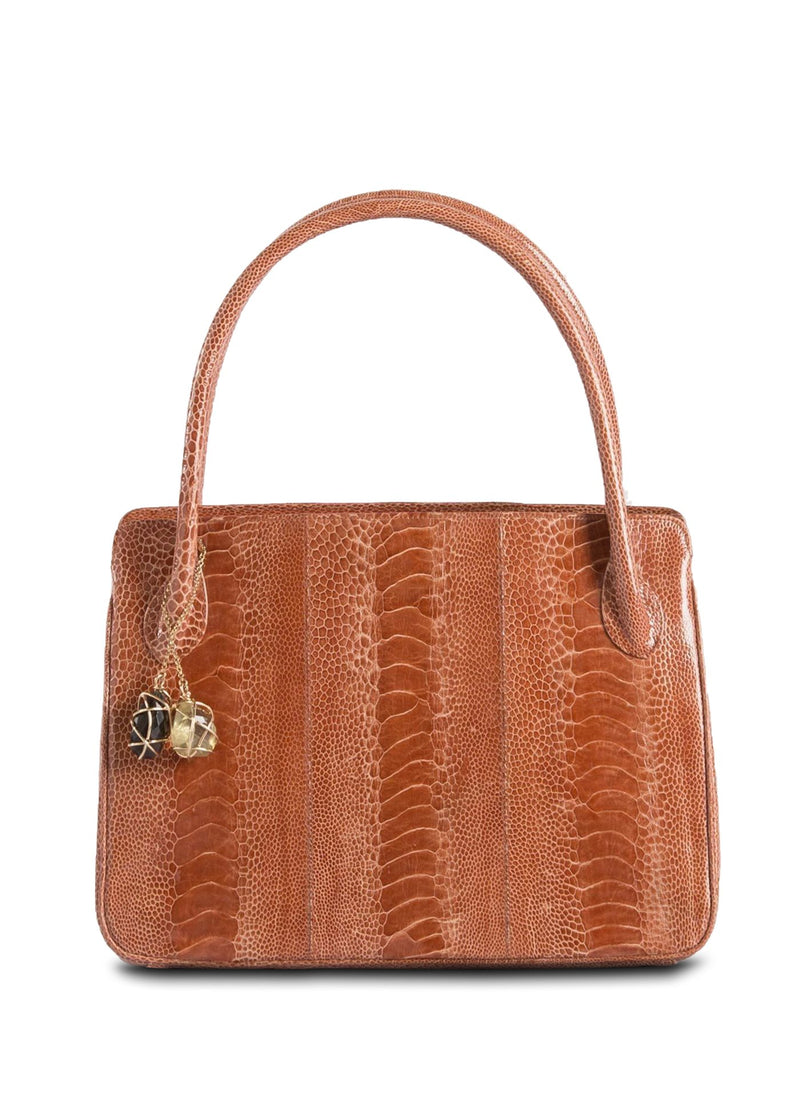 Exotic ostrich leg Blair open tote in orange - Darby Scott