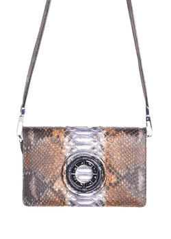 Multi-color brown python Anna Crossbody clutch by Darby Scott with Black Onyx Grommet