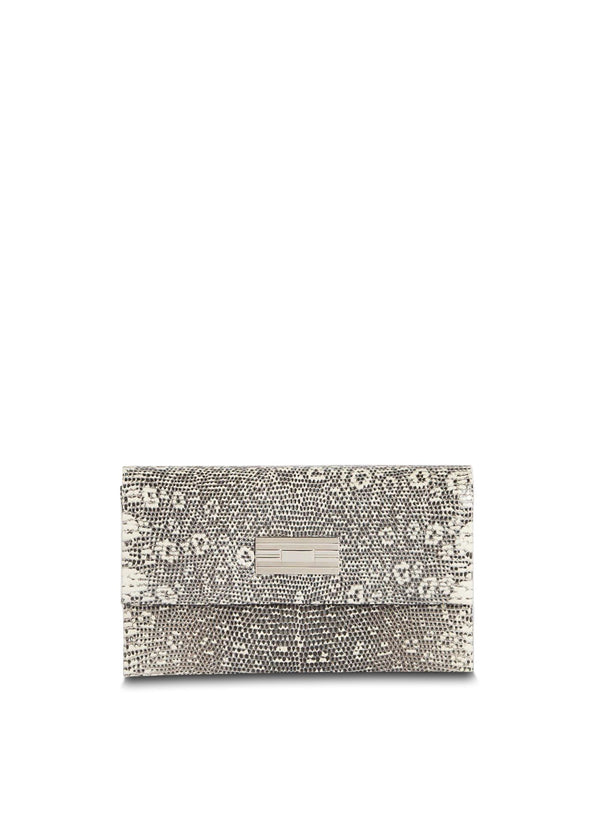 Exotic ring lizard mini clutch in black & white with sterling silver monogram plate - Darby Scott