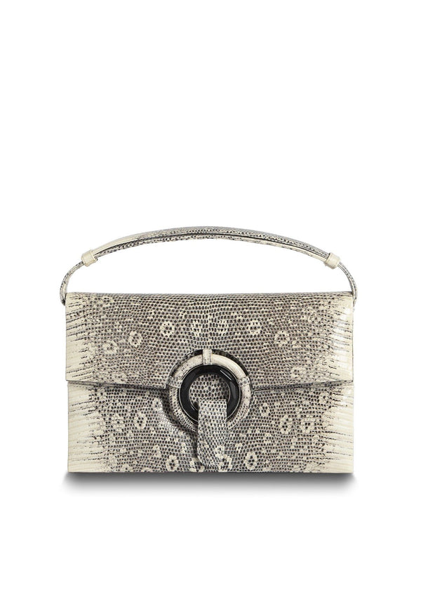 Exotic Ring Lizard Handbag in Black & White with Onyx Grommet - Darby Scott