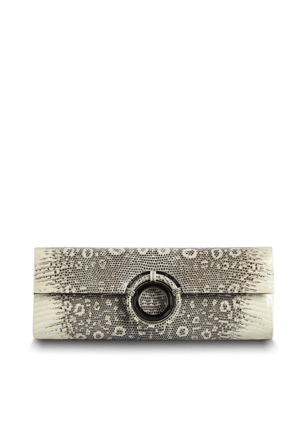 Genuine Ring Lizard Roll Clutch in Black & White with Black Onyx Grommet - Darby Scott