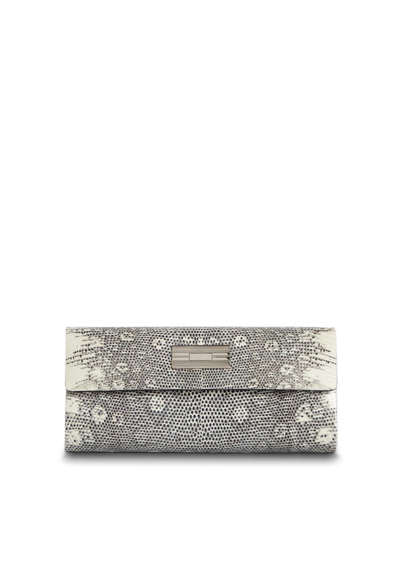 Exotic ring lizard roll clutch in black & white with sterling silver monogram plate - Darby Scott