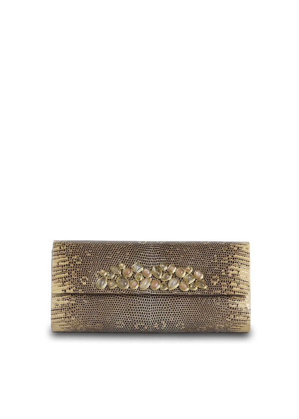 Exotic ring lizard roll clutch in tan with gemstone mosaic embellishment - Darby Scott