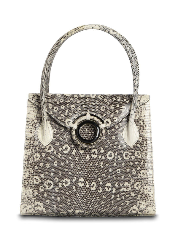 Exotic ring lizard Thompson tote in black and white with onyx grommet - Darby Scott