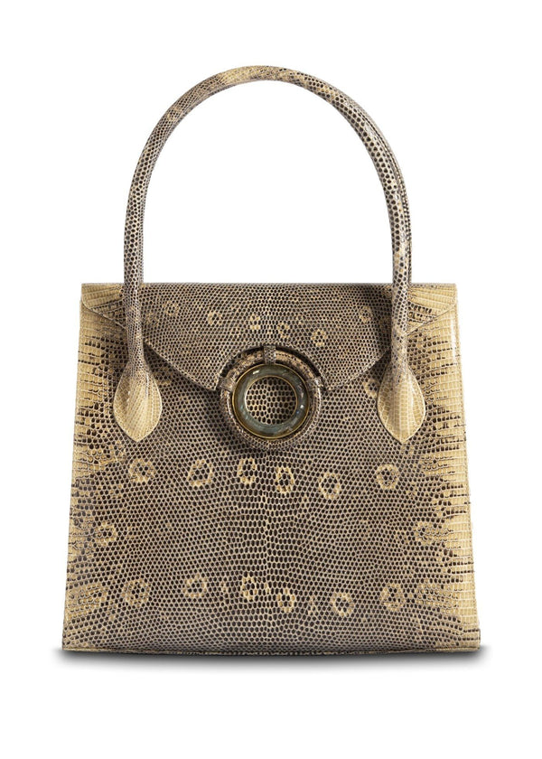 Exotic Ring Lizard Thompson 'O' Tote in Tan with Labradorite  Grommet - Darby Scott