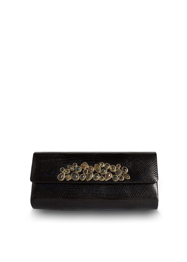 Exotic teju lizard roll clutch in black with gemstone mosaic embellishment - Darby Scott