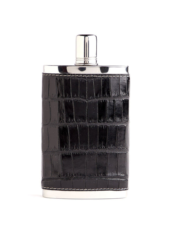Black Crocodile Covered Stainless Steel 9 oz hip flask - Darby Scott