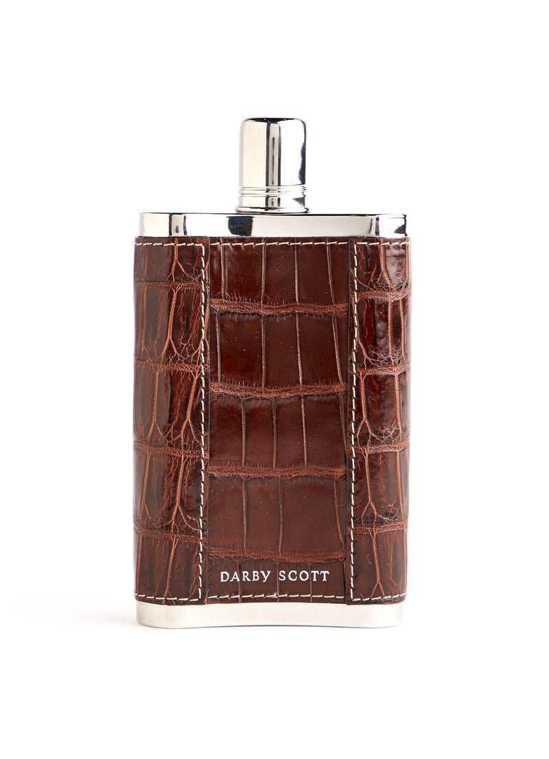 Back view of brown crocodile covered stainless steel flask - Darby Scott