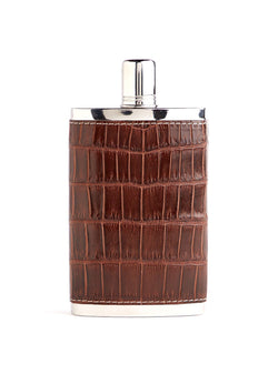 Brown Crocodile Covered Stainless Steel 9 oz hip flask - Darby Scott