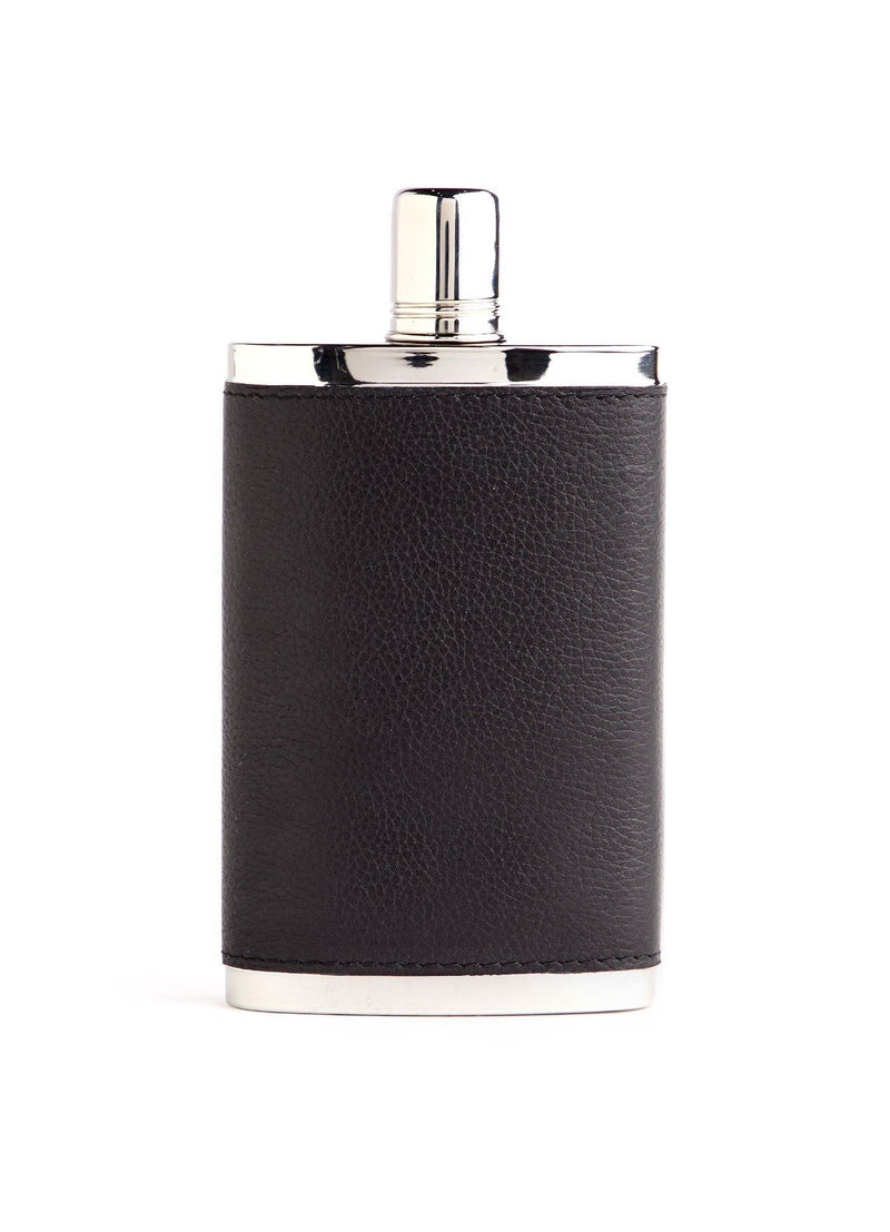 Black Leather Covered Stainless Steel 9 oz. Hip Flask - Darby Scott