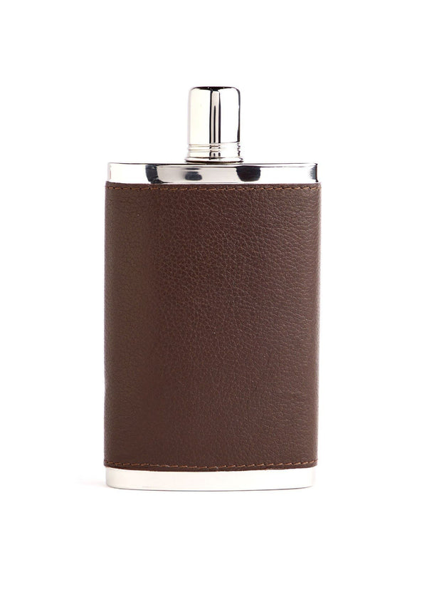 Brown Leather Covered Stainless Steel 9 oz Hip Flask - Darby Scott