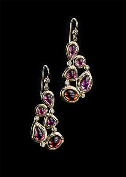 Garnet diamond 18K gold earring mosaic 5 stone - Darby Scott