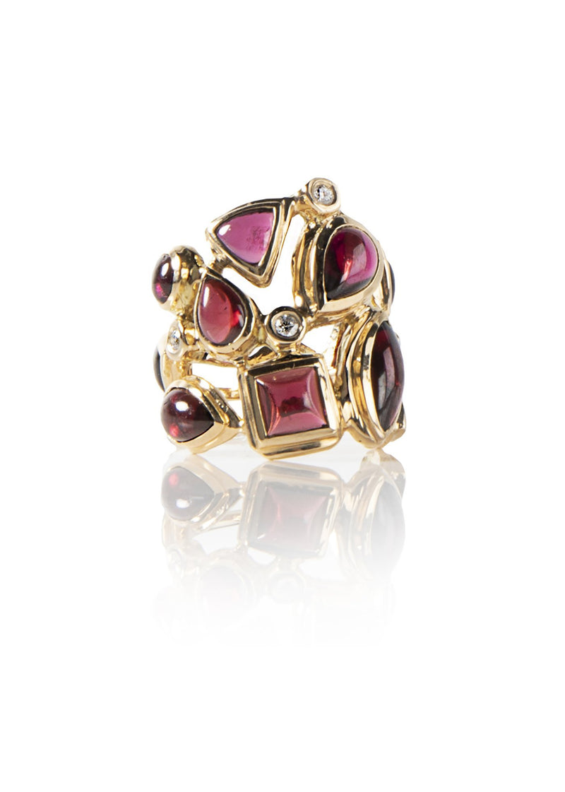 Garnet & Diamond 18K Yellow Gold Mosaic Cocktail Ring - Darby Scott