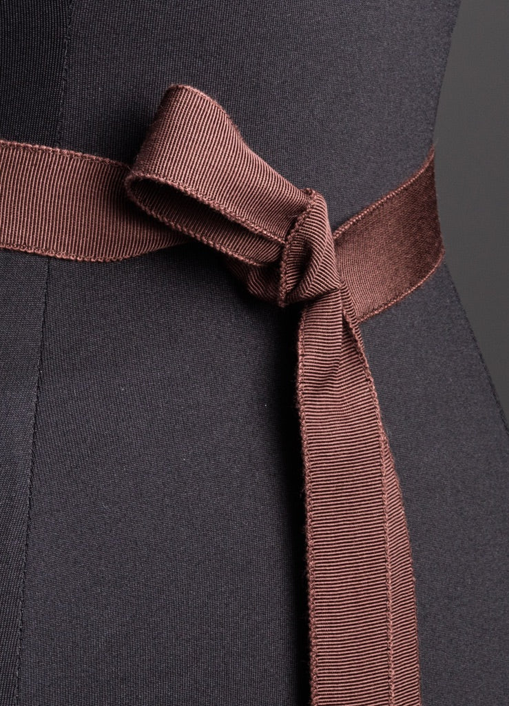 Close up of Brown Silk Grosgrain Ribbon Belt, Narrow - Darby Scott