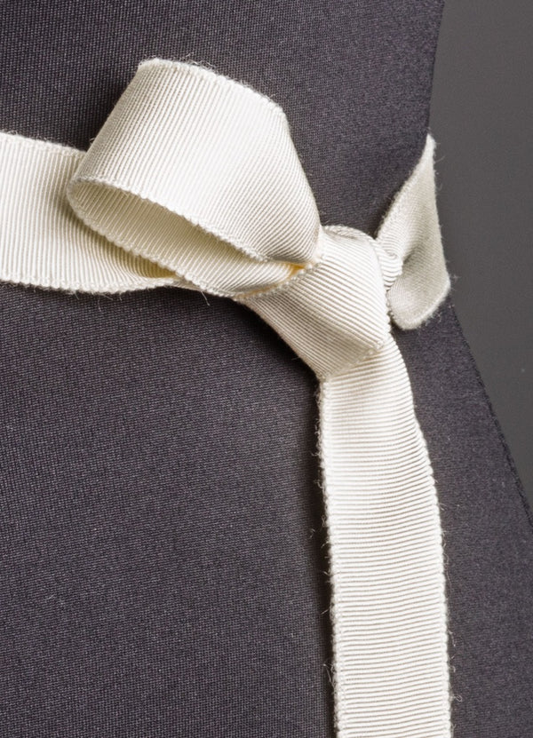 Close up of Ivory Silk Grosgrain Ribbon Belt, Narrow - Darby Scott--alternate