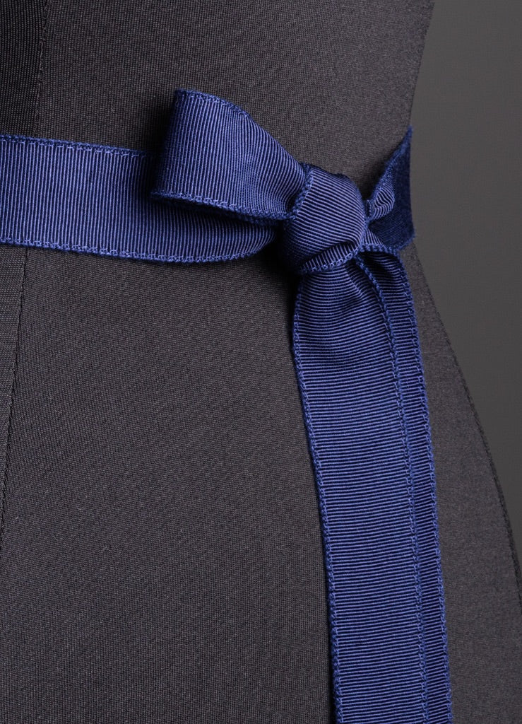 Close up of Navy Silk Grosgrain Ribbon Belt, Narrow - Darby Scott