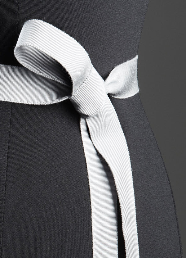 Close up of Silver Silk Grosgrain Ribbon Belt, Narrow - Darby Scott--alternate
