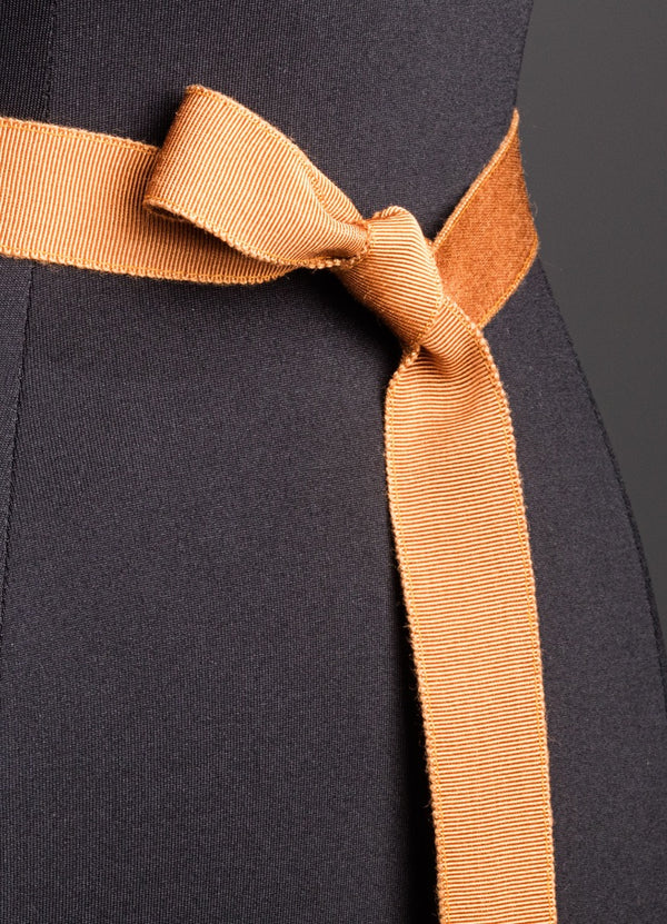 Close up of Terracotta Silk Grosgrain Ribbon Belt, Narrow - Darby Scott--alternate