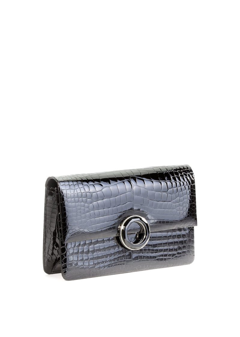Black Alligator Onyx Grommet Clutch - Darby Scott