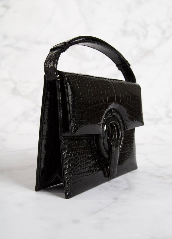Side view of Black Crocodile Grommet Handbag, Mini - Darby Scott--alternate