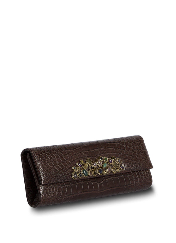 Gemstone Mosaic Embellishment on cover of Brown Crocodile Clutch - Darby Scott--alternate