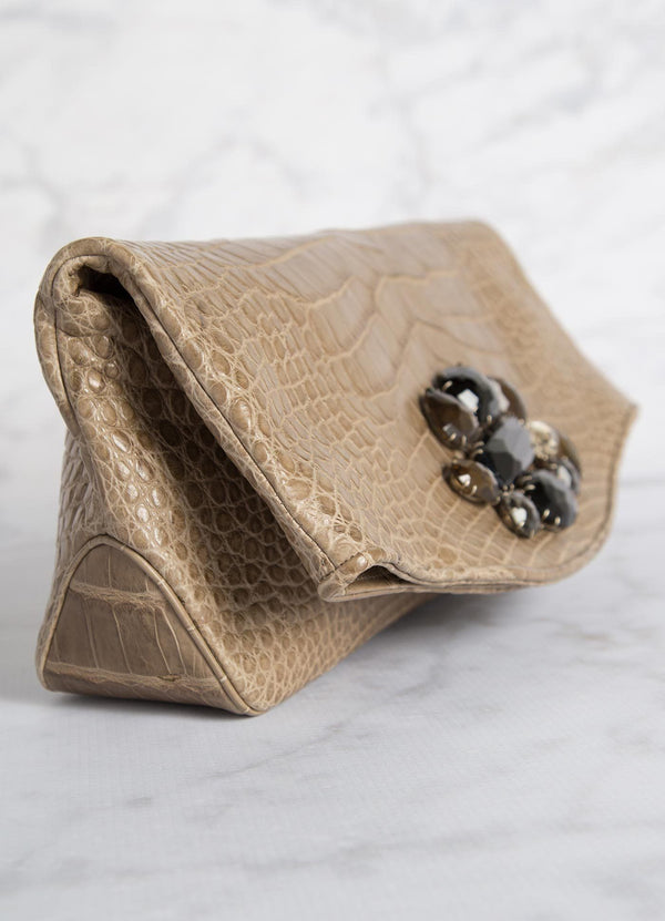 Side view Light Brown Crocodile Fold Over Clutch - Darby Scott--alternate