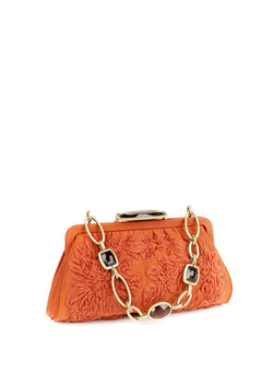 Terracotta silk with embroidered flowers and chain & jewel handle - Darby Scott