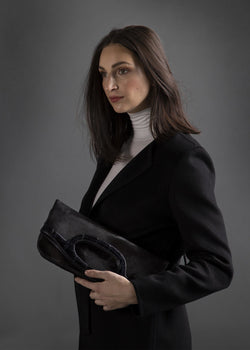 Model with Black Haircalf Convertible Fold over Clutch - Darby Scott