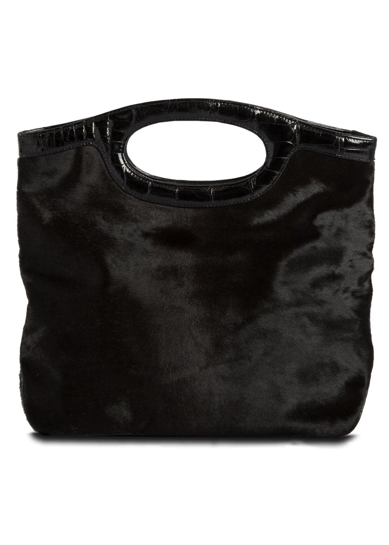 Open view of Black Haircalf Convertible Clutch - Darby Scott