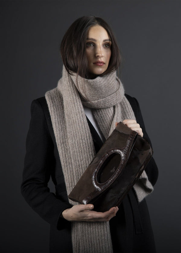 Model with brown Haircalf Convertible Fold over Clutch - Darby Scott