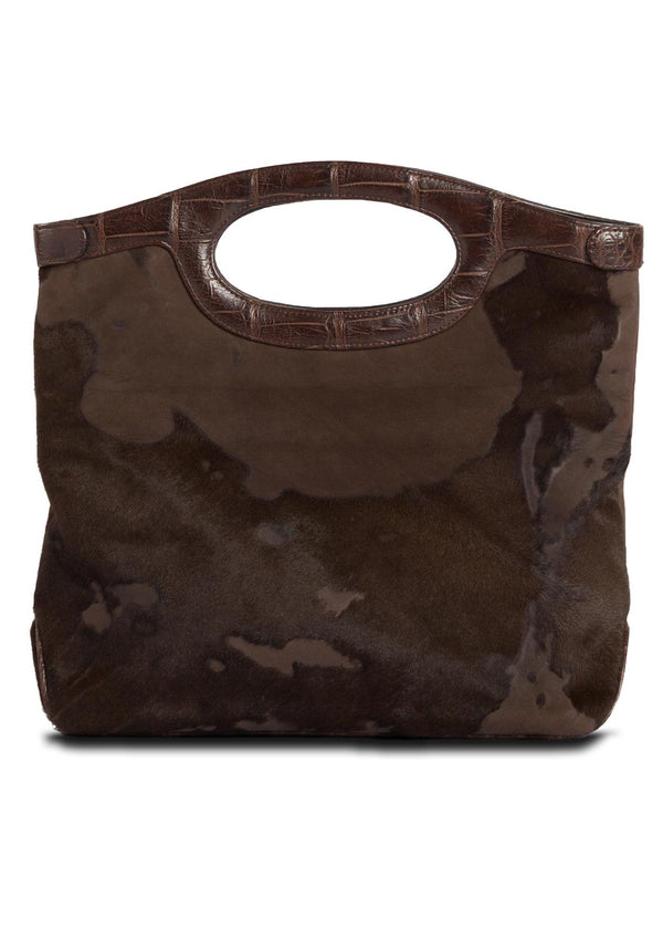 Open view of Brown Haircalf Convertible Fold over Clutch - Darby Scott --alternate