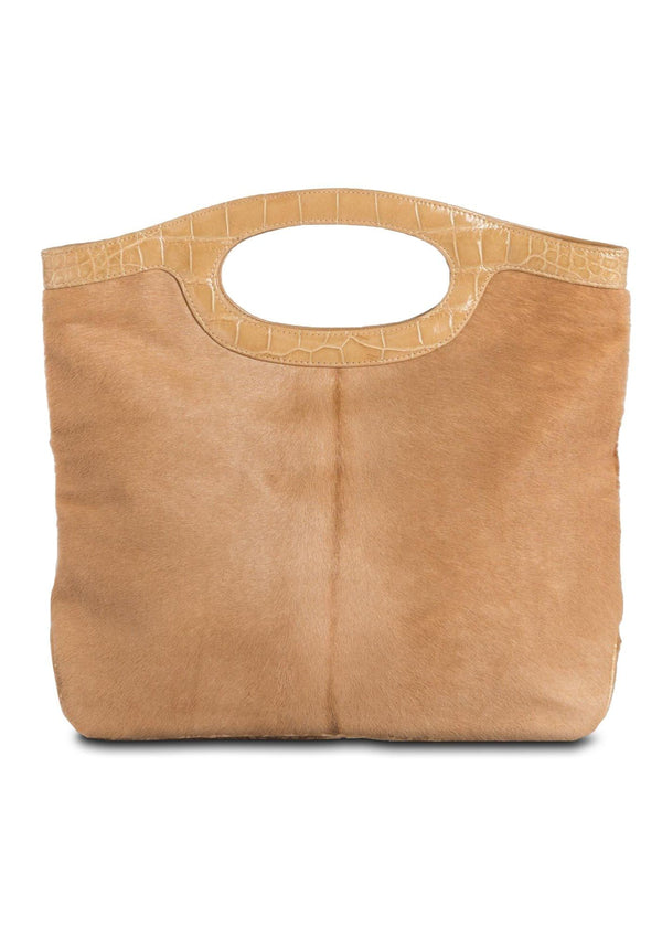 Open view of Cafe Haircalf Convertible Fold Over Clutch - Darby Scott --alternate