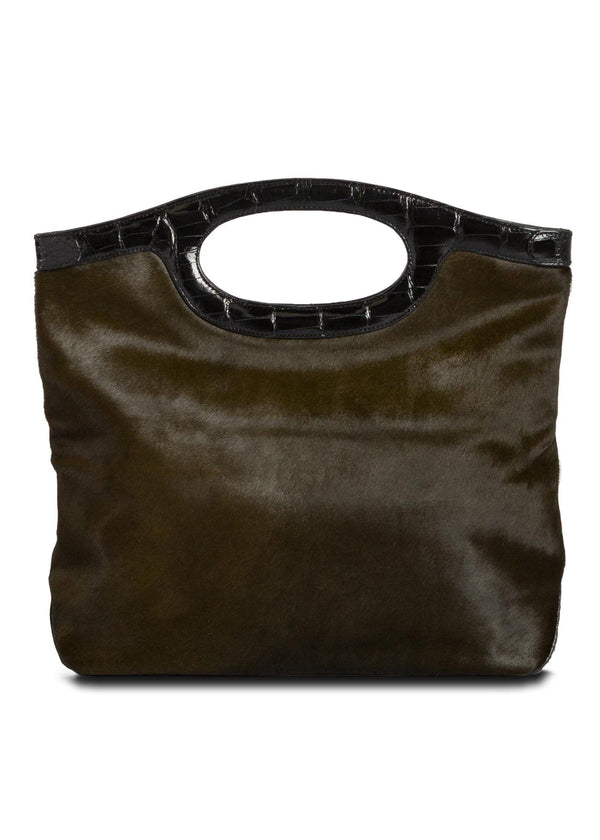 Open View Olive Haircalf Convertible Fold over Clutch - Darby Scott