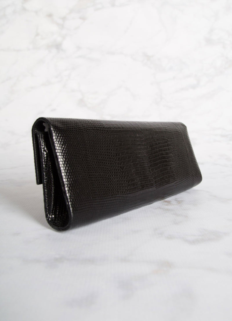 Back view of Black Lizard Roll Clutch - Darby Scott